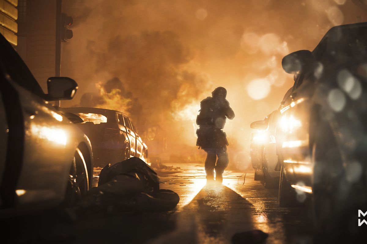 Call of Duty: Modern Warfare - lone soldier walking down a rainy street at sunset
