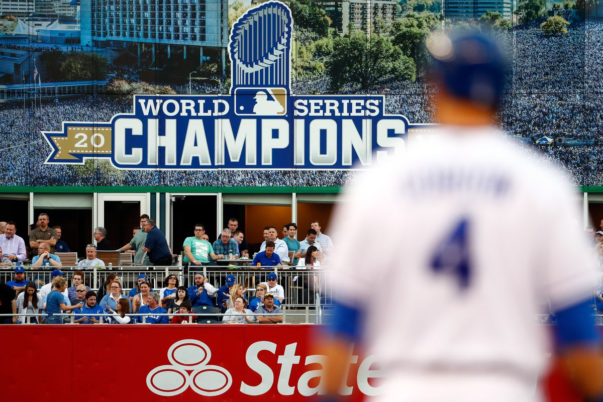 A billboard commemorating the Kansas City Royals 2015 World series win is seen in left field during the game between the Detroit Tigers and the Kansas City Royals at Kauffman Stadium on April 19, 2016 in Kansas City, Missouri.