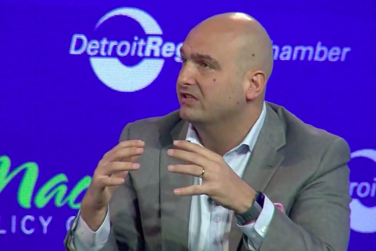 Detroit schools superintendent Nikolai Vitti speaking at the Mackinac Policy Conference on May 31, 2018.