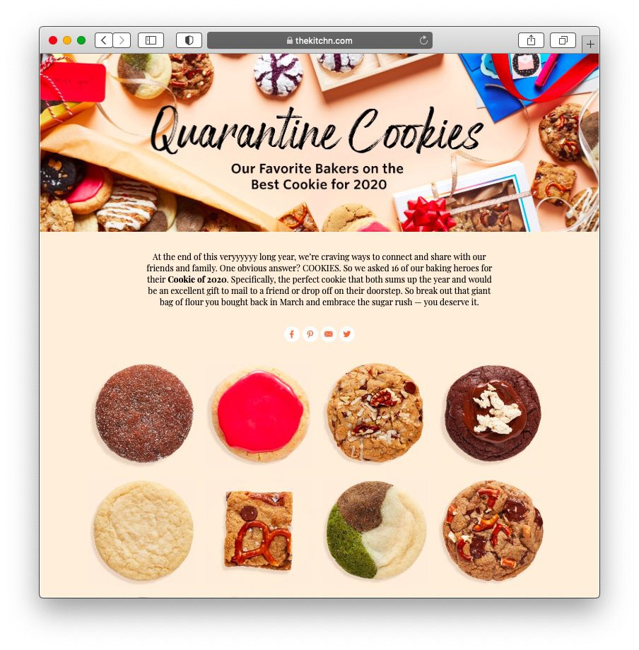 "Screenshot of The Kitchn's ""quarantine cookie"" article."