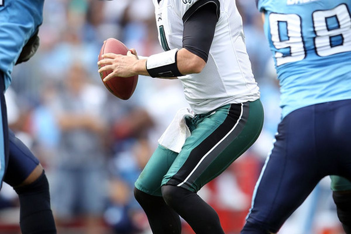 NASHVILLE TN - OCTOBER 24:  Kevin Kolb #4 of the Philadelphia Eagles looks to pass the ball during the NFL game against the Tennessee Titans at LP Field on October 24 2010 in Nashville Tennessee.  (Photo by Andy Lyons/Getty Images)