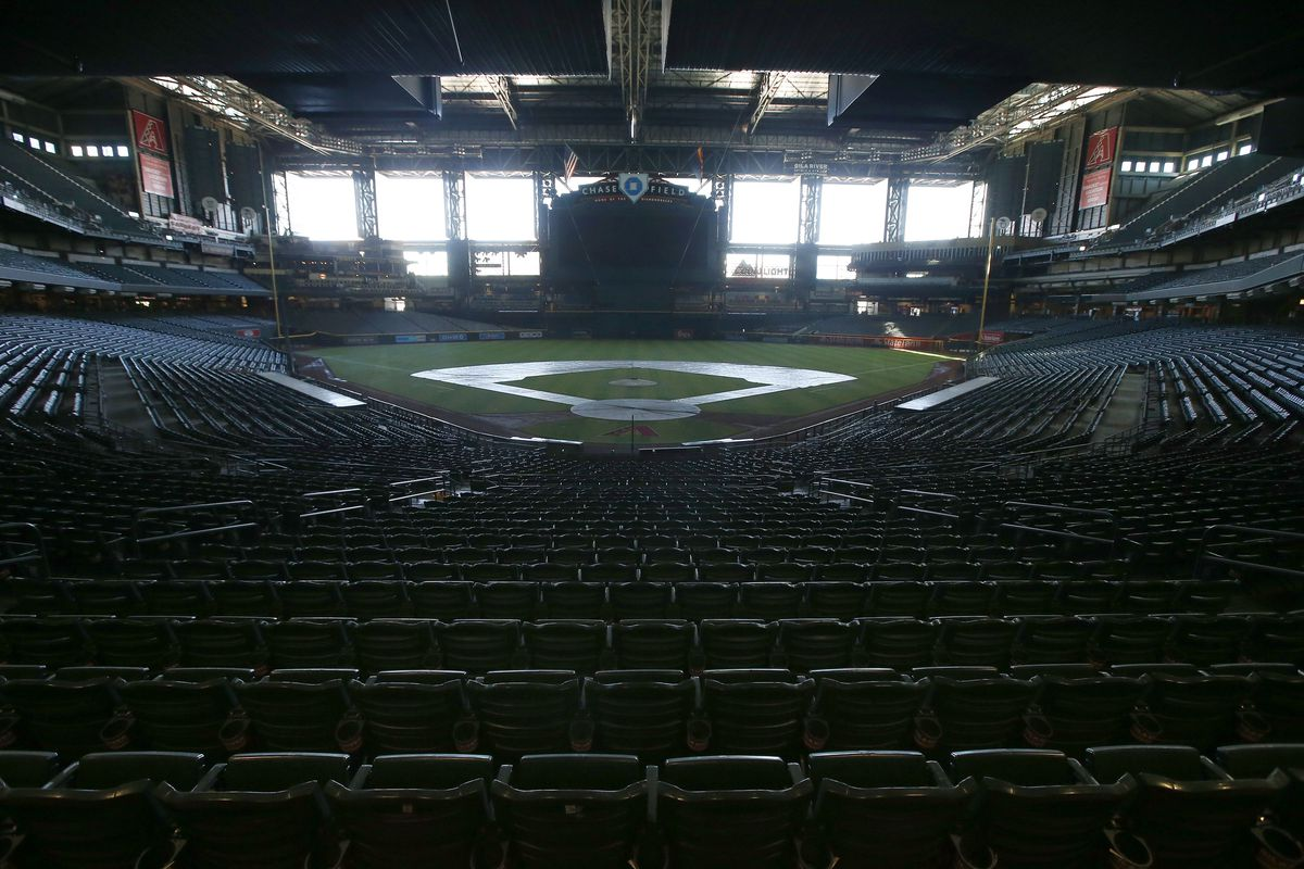 Chase Field, home of the Arizona Diamondbacks, sits empty.