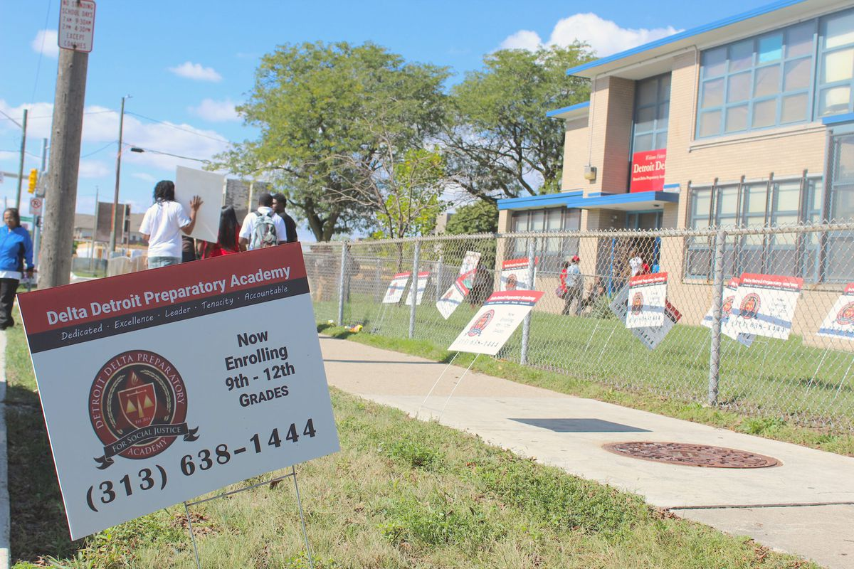 On the day the board voted to close Delta Prep, the lawn outside the school was littered with recruitment signs.