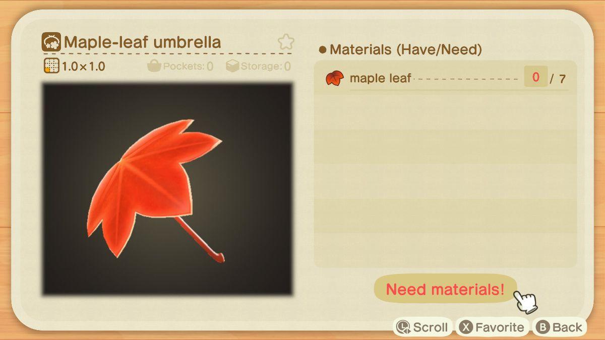 A recipe list for a Maple-leaf Umbrella