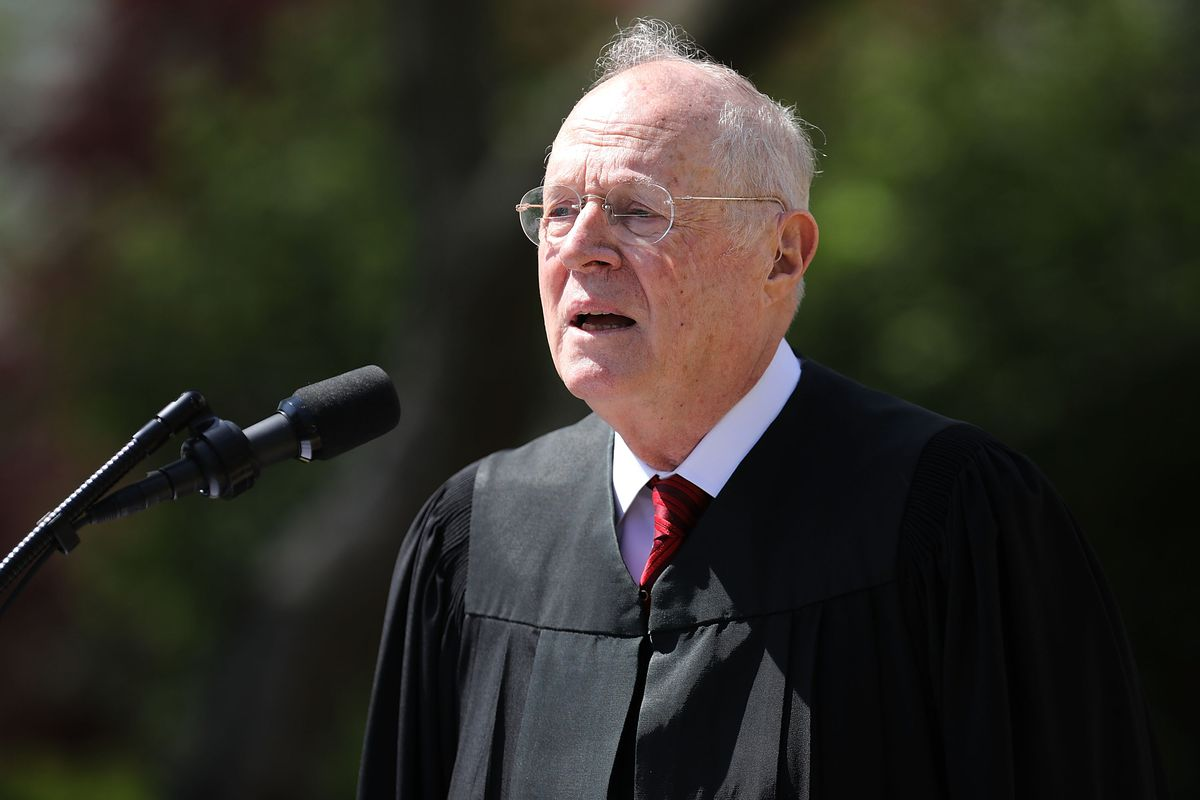 U.S. Supreme Court Associate Justice Anthony Kennedy delivers remarks in the Rose Garden at the White House