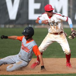 American Fork and Skyridge compete in a high school boys baseball game in American Fork on Friday, April 30, 2021.