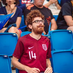 Waiting for the game Norway v England game to start.