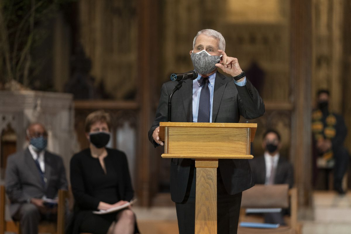 Dr. Anthony Fauci, director of the National Institute of Allergy and Infectious Diseases and chief medical adviser to the president, speaks to a group of interfaith clergy members and community leaders and officials at the Washington National Cathedral, to encourage faith communities to get the COVID vaccine, Tuesday, March 16, 2021 in Washington