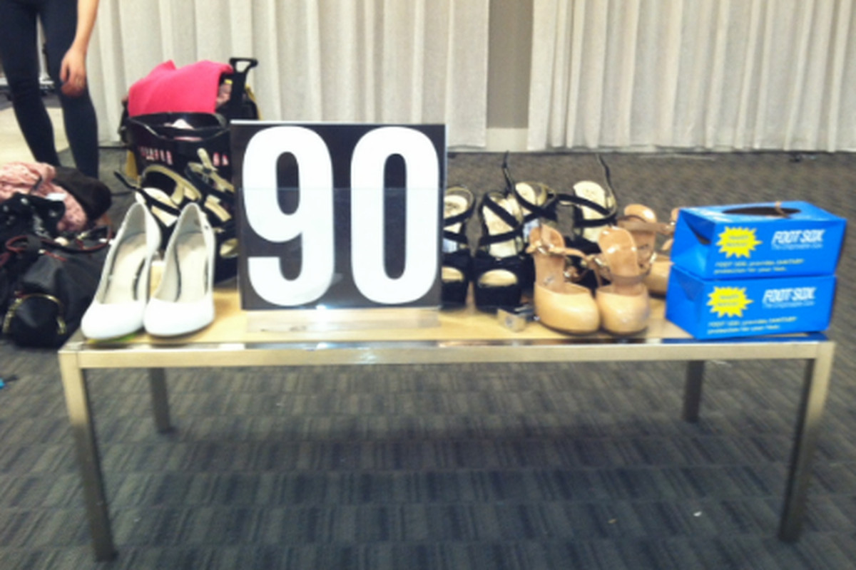 This is Chelsea Loehmann's entire shoe department (90% off)