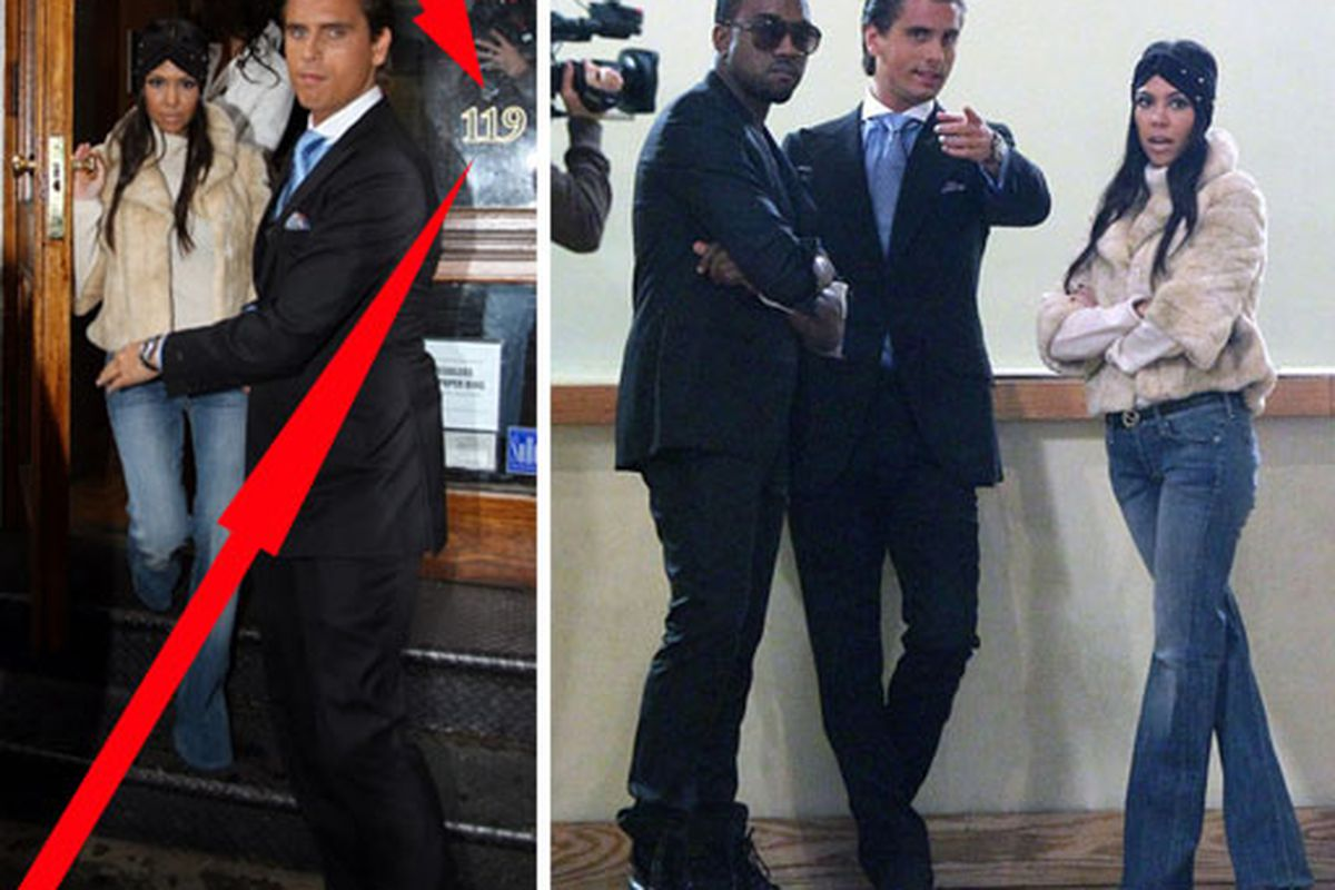"""L: Note the address. R: Kanye checks out the new space with Scott and Kourtney. Images via <a href=""""http://officialkourtneyk.celebuzz.com/2010/10/first-stop-in-nyc/"""">OfficialKourtneyK</a>"""