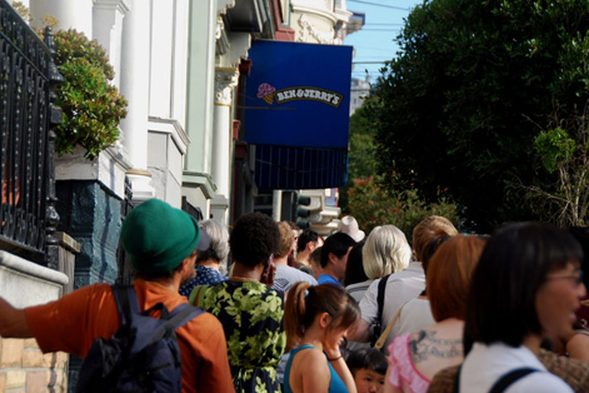 Free cone day drew a big crowd in the Haight.