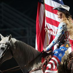The colors are presented prior to the start of the 5th performance of the Days of 47 Rodeo in Salt Lake City on Saturday, July 23, 2016.