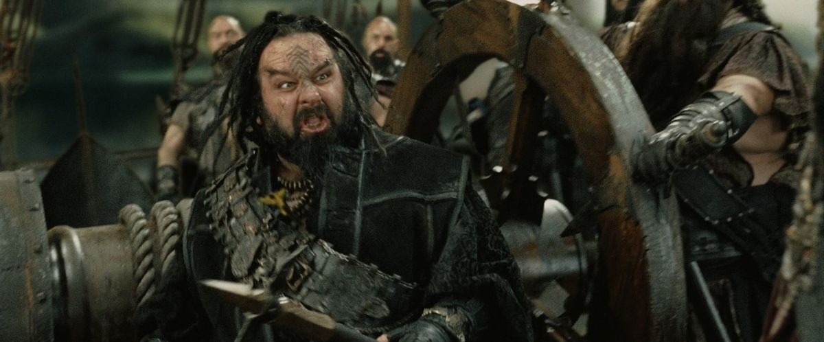 Peter Jackson growls in his cameo as a pirate in The Return of the King.