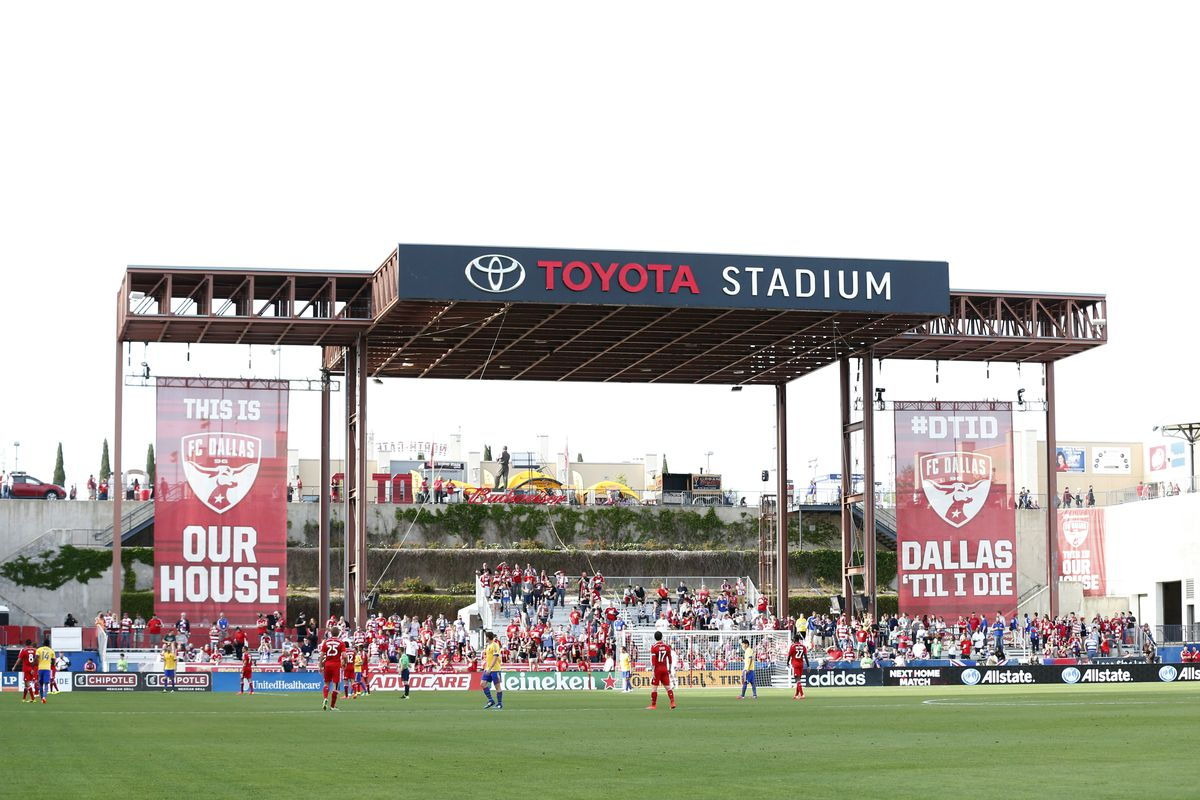 Toyota Stadium, home of FC Dallas, site of Saturday's match - no bouncy castles in site