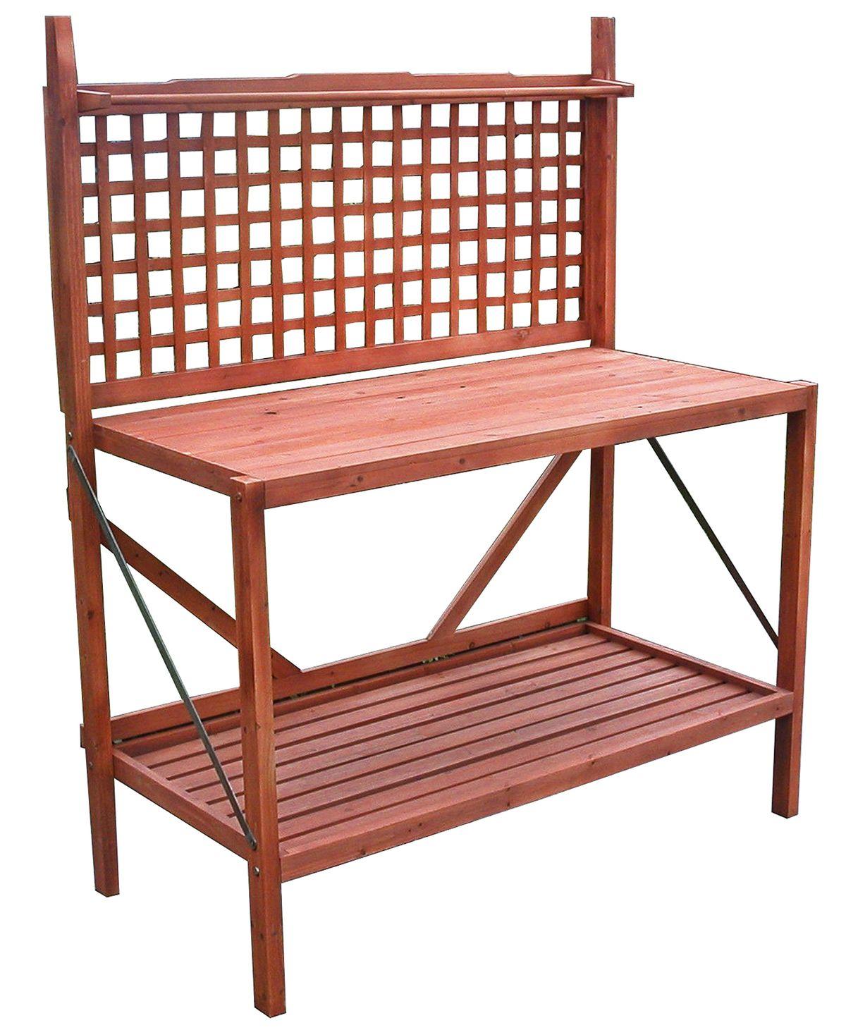 "<p>Storage shelves, a lattice back for hanging utensils, and ample counter space make this collapsible fir potting bench an ideal bar or serving station.</p> <p><br> <em>About $127; <a href=""http://www.wayfair.com/"" target=""_blank"">Wayfair</a></em></p>"