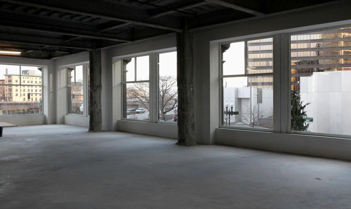 An empty office floor still under construction.