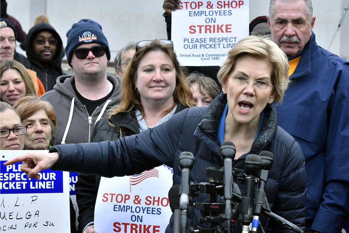 Democratic Presidential hopeful, Sen. Elizabeth Warren, D-Mass., speaks after she joined striking Stop & Shop supermarket employees on the picket line on Friday, April 12, 2019, in Somerville, Mass. Unionized workers in three states walked off the job on