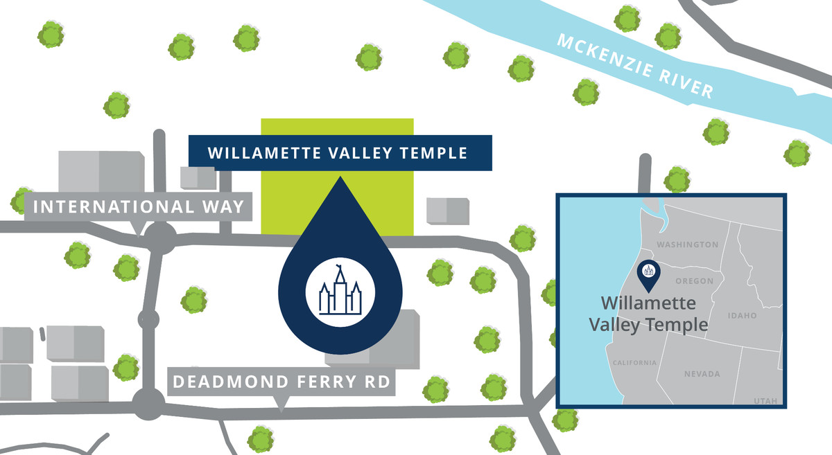 A map showing the location of the Willamette Valley Oregon Temple.