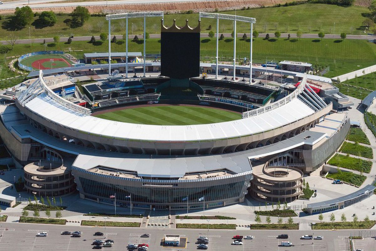 April 17, 2012; Kansas City, MO, USA; A general aerial view of the sports complex before the game between the Kansas City Royals and Detroit Tigers at Kauffman Stadium. Mandatory Credit: Denny Medley-US PRESSWIRE