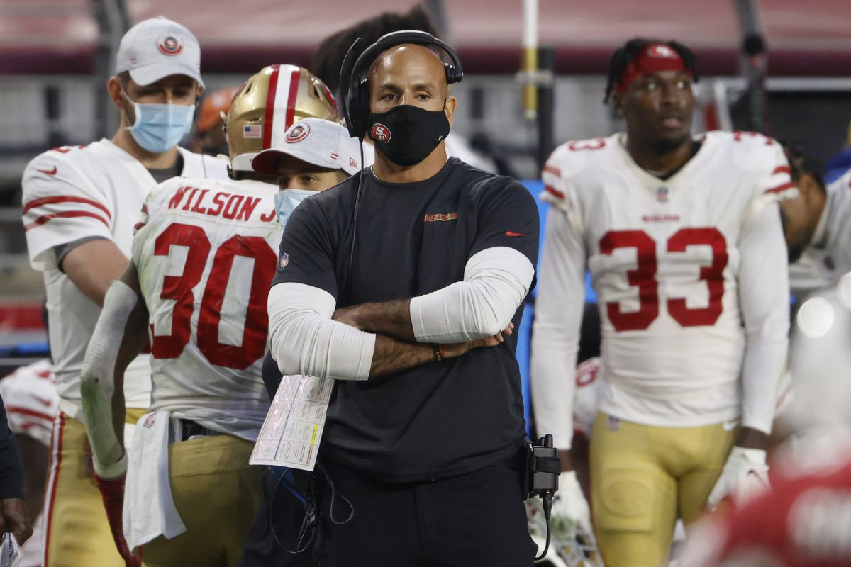 Defensive coordinator Robert Saleh of the San Francisco 49ers looks on during the second half against the Arizona Cardinals at State Farm Stadium on December 26, 2020 in Glendale, Arizona.