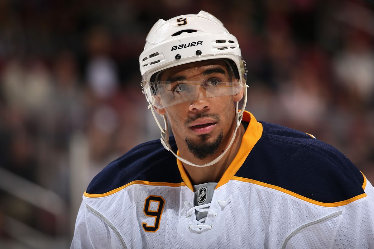 GLENDALE, AZ - FEBRUARY 26: Evander Kane #9 of the Buffalo Sabres skates up to the face-off circle during the second period of the NHL game against the Arizona Coyotes at Gila River Arena on February 26, 2017 in Glendale, Arizona.
