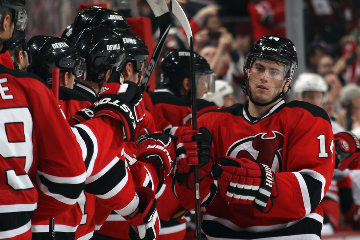 """Adam Henrique has to be very pleased with scoring this evening, but his face says, """"Yeah, scored another important goal in another game. No big deal."""" (Photo by Bruce Bennett/Getty Images)"""