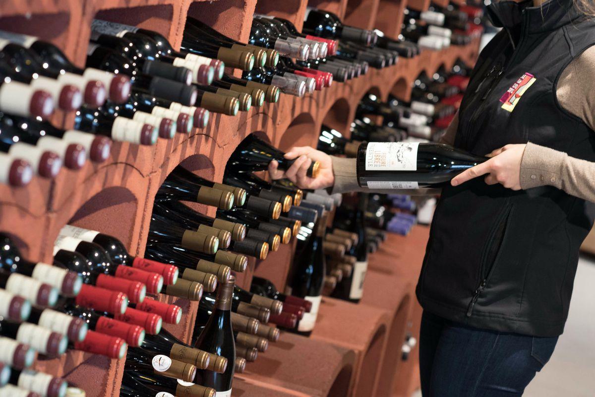 Wine racks in a wine shop