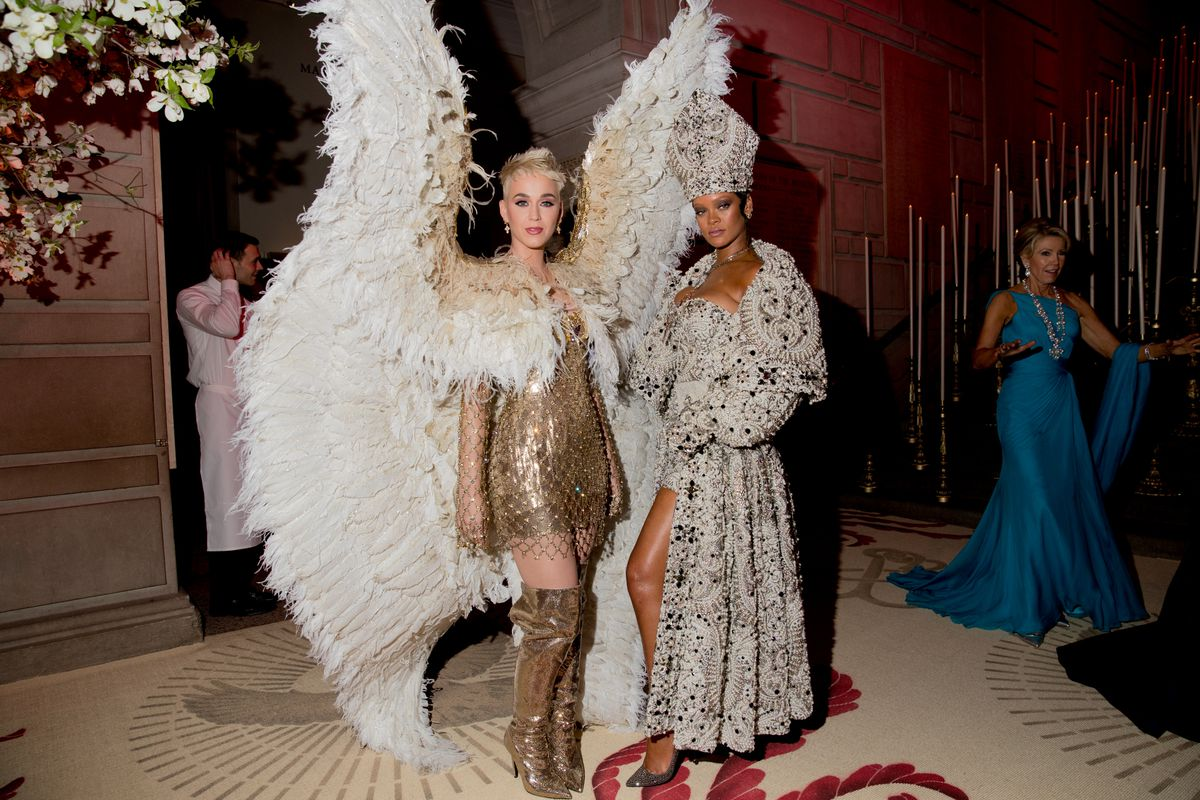 Katy Perry and Rihanna attend the Heavenly Bodies: Fashion & The Catholic Imagination Costume Institute Gala at The Metropolitan Museum of Art on May 7, 2018 in New York City.