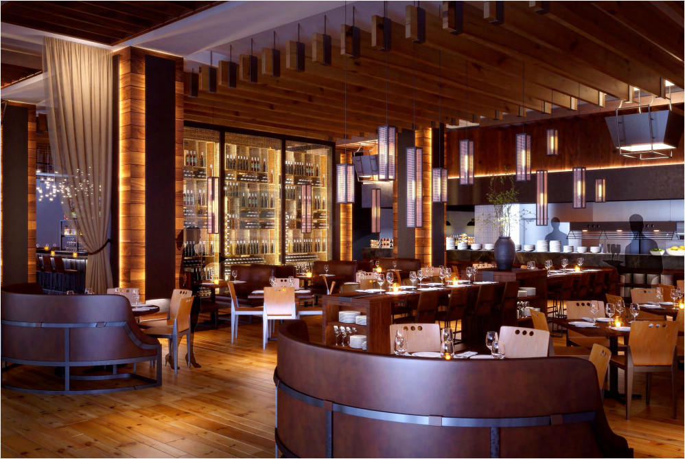 A rendering of South City Kitchen Alpharetta's dining room and open kitchen.