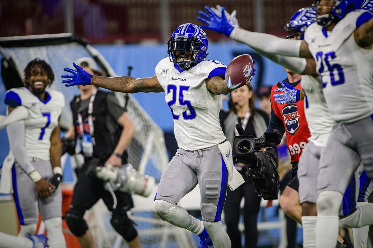 St. Louis Battlehawks safety Will Hill celebrates making an interception to seal the win over the Dallas Renegades during the second half in an XFL football game at Globe Life Park.