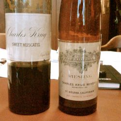 Old bottlings of Charles Krug Riesling and Sweet Moscatel. The wines are not marked with vintages (common during the 1800s), so exact production dates are unknown. [Source: Charles Krug]