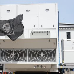 Pirate flag on the ESPN truck -