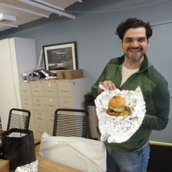 Chef Manuel Trevino from Marble Lane, presenting the Death by Burger.