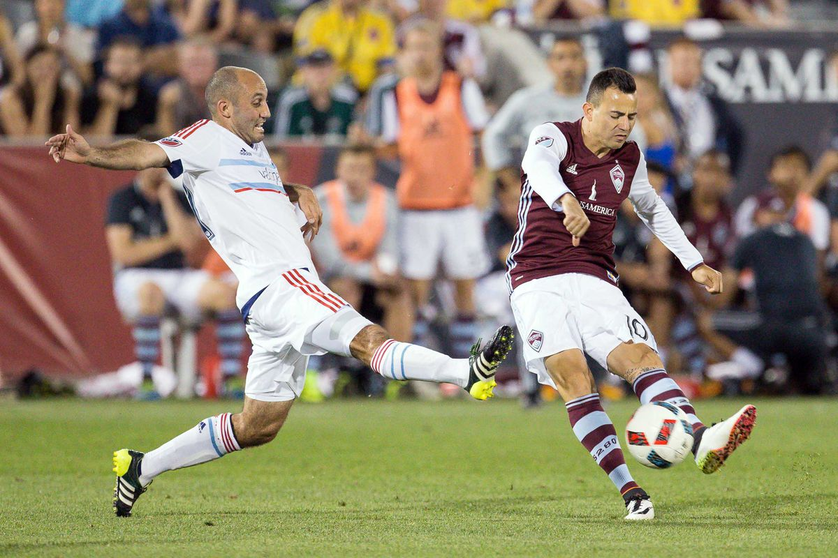Marco Pappa taking a shot against former Rapids player Nick LaBrocca.
