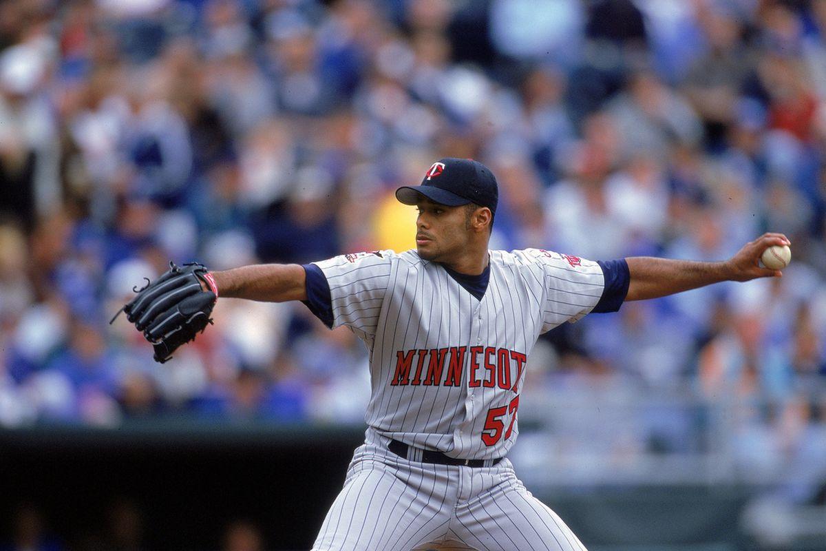 Johan Santana pitching for the Minnesota Twins in April, 2000