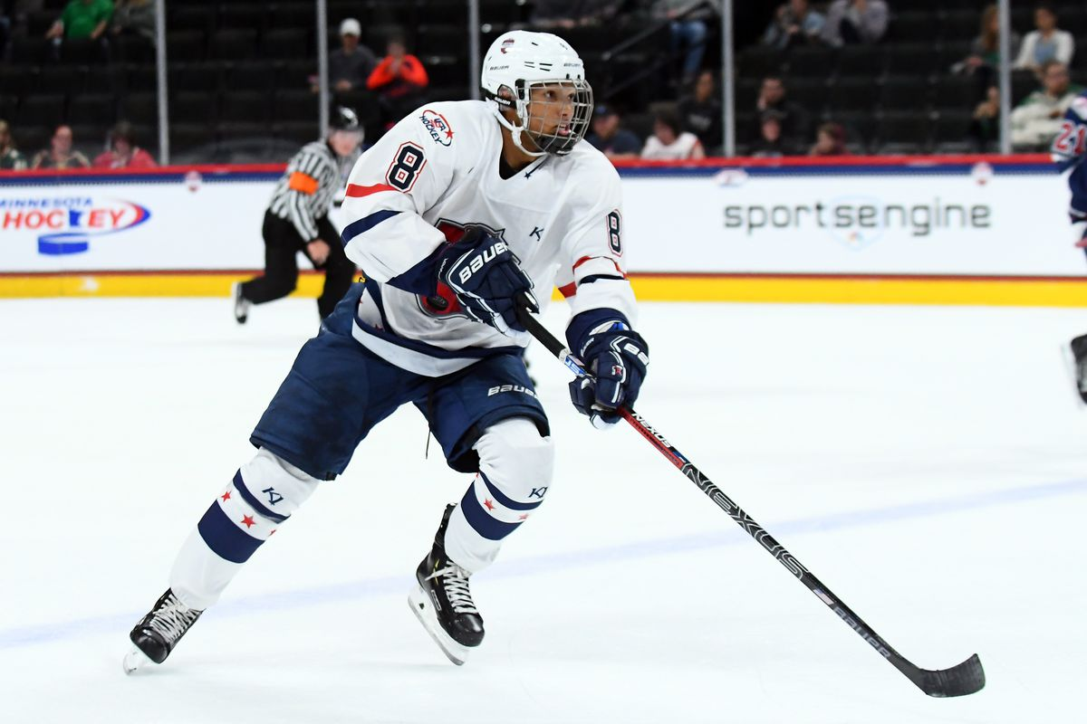 ST. PAUL, MN - SEPTEMBER 19: Team Langenbrunner defenseman Marshall Warren skates with the puck during the USA Hockey All-American Prospects Game between Team Leopold and Team Langenbrunner on September 19, 2018 at Xcel Energy Center in St. Paul, MN.