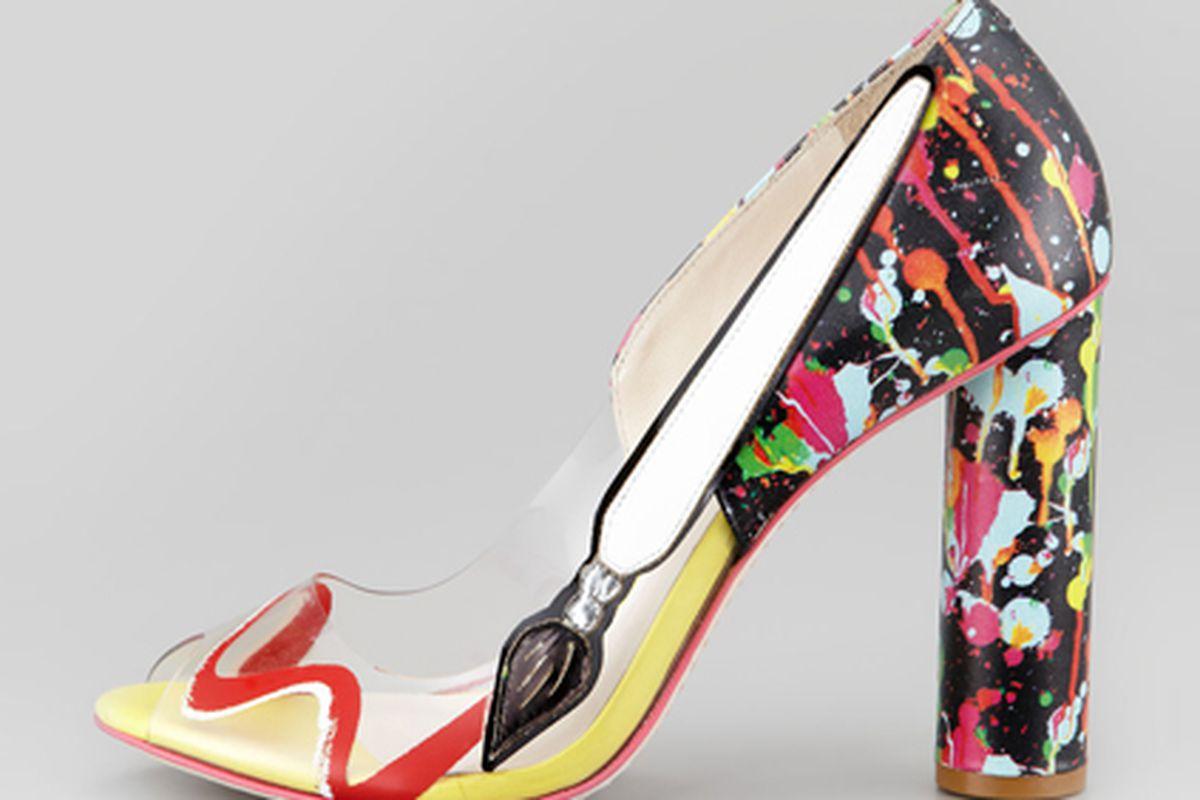 """Shoe by <a href=""""http://www.neimanmarcus.com/p/Sophia-Webster-Pretty-Like-Pollock-Paint-Splatter-Vinyl-Pump-sophia-webster/prod157560328___/?icid=&amp;searchType=MAIN&amp;rte=%252Fsearch.jsp%253FN%253D0%2526Ntt%253Dsophia%252Bwebster%2526_requestid%"""