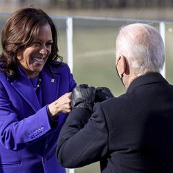 Vice President Kamala Harris bumps fists with President-elect Joe Biden after she was sworn in during the inauguration, Wednesday, Jan. 20, 2021, at the U.S. Capitol in Washington.