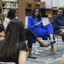 Michelle Obama meets with Whitney Young students. The Obama Foundation is launching awards with CPS to support civic engagement. | Ashlee Rezin/Sun-Times