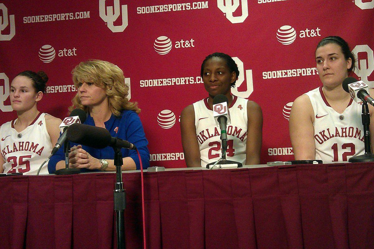 Whitney Hand, Sherri Coale, Sharane Campbell and Jelena Cerina address the media after Saturday's 80-71 Bedlam win.