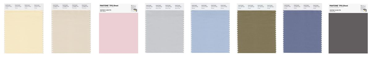 Images of color swatches, which are pastels and light grays, arranged horizontally