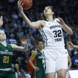 Brigham Young Cougars forward Kalani Purcell (32) shoots during the WCC tournament championship in Las Vegas Tuesday, March 8, 2016. San Francisco won 70-68.
