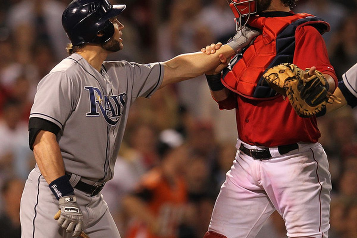 Does Luke Scott bring his hunting spears on road trips? (Photo by Jim Rogash/Getty Images)