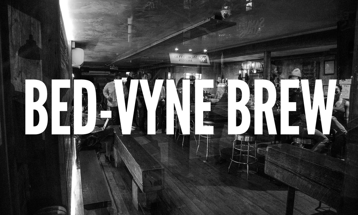 Looking into Bed-Vyne Brew in Brooklyn, New York from the front door