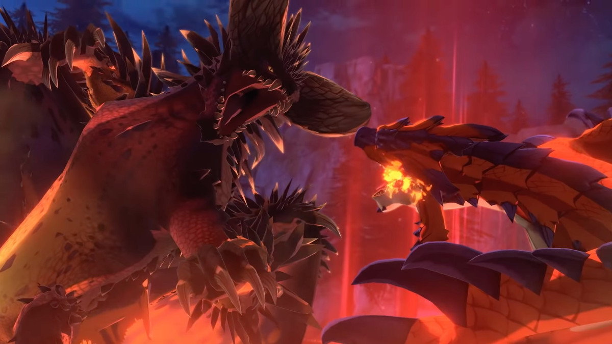 Nerigante and Rathalos battle in Monster Hunter Stories 2: Wings of Ruin
