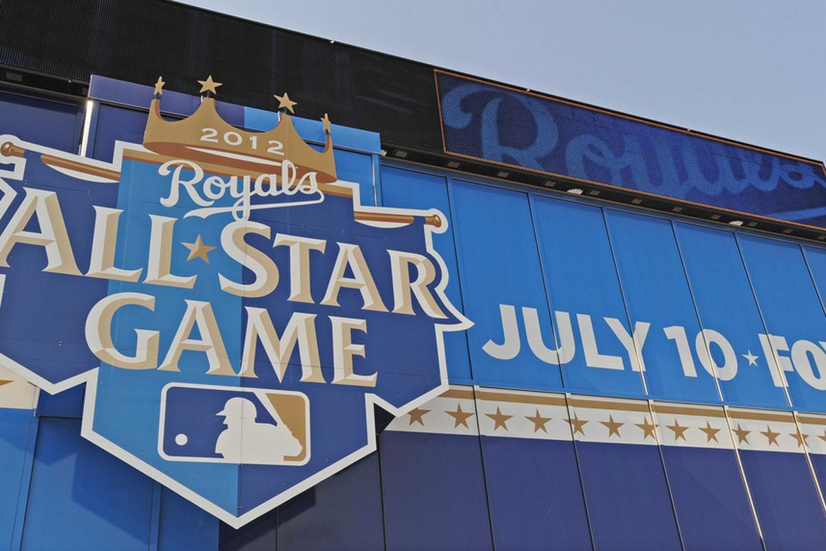 June 25, 2012; Kansas City, MO, USA; Detail view of stadium signage as the Kansas City Royals prepare to host the 2012 All-Star game at Kauffman Stadium.  Mandatory Credit: Peter G. Aiken-US PRESSWIRE