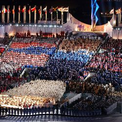 The opening ceremony of the Salt Lake 2002 Winter Games at the University of Utah's Rice-Eccles Stadium is pictured on Friday, Feb. 8, 2002.