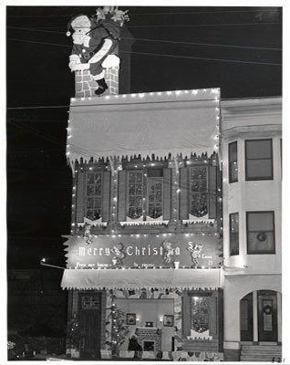 Christmas decoration outside the old firehouse Engine 21 at 1152 Oak, 1950.