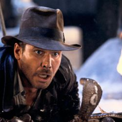 """Harrison Ford as Indiana Jones wonders, """"Why did it have to be snakes?"""" in this famous scene from """"Raiders of the Lost Ark"""" (1981)."""