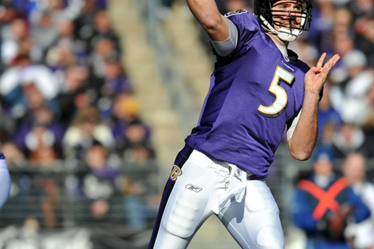 BALTIMORE - DECEMBER 11:  Joe Flacco #5 of the Baltimore Ravens passes against the Indianapolis Colts at M&T Bank Stadium on December 11, 2011 in Baltimore, Maryland. The Ravens lead the Colts 17-3 at the half. (Photo by Larry French/Getty Images)